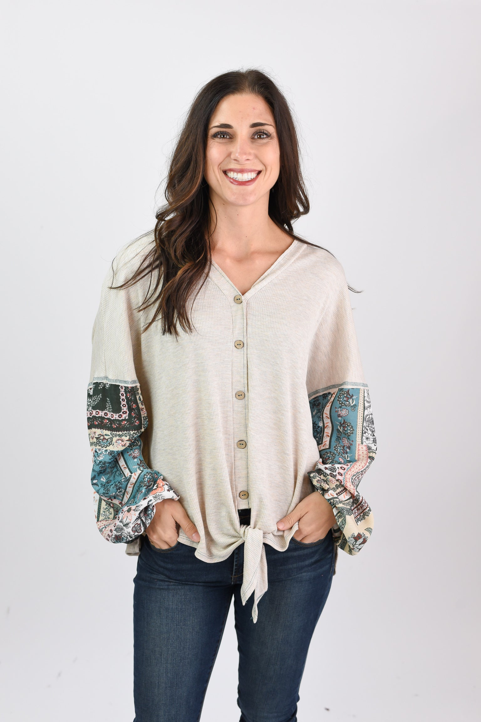 Chasing Memories Cream Patterned Long Sleeve Top