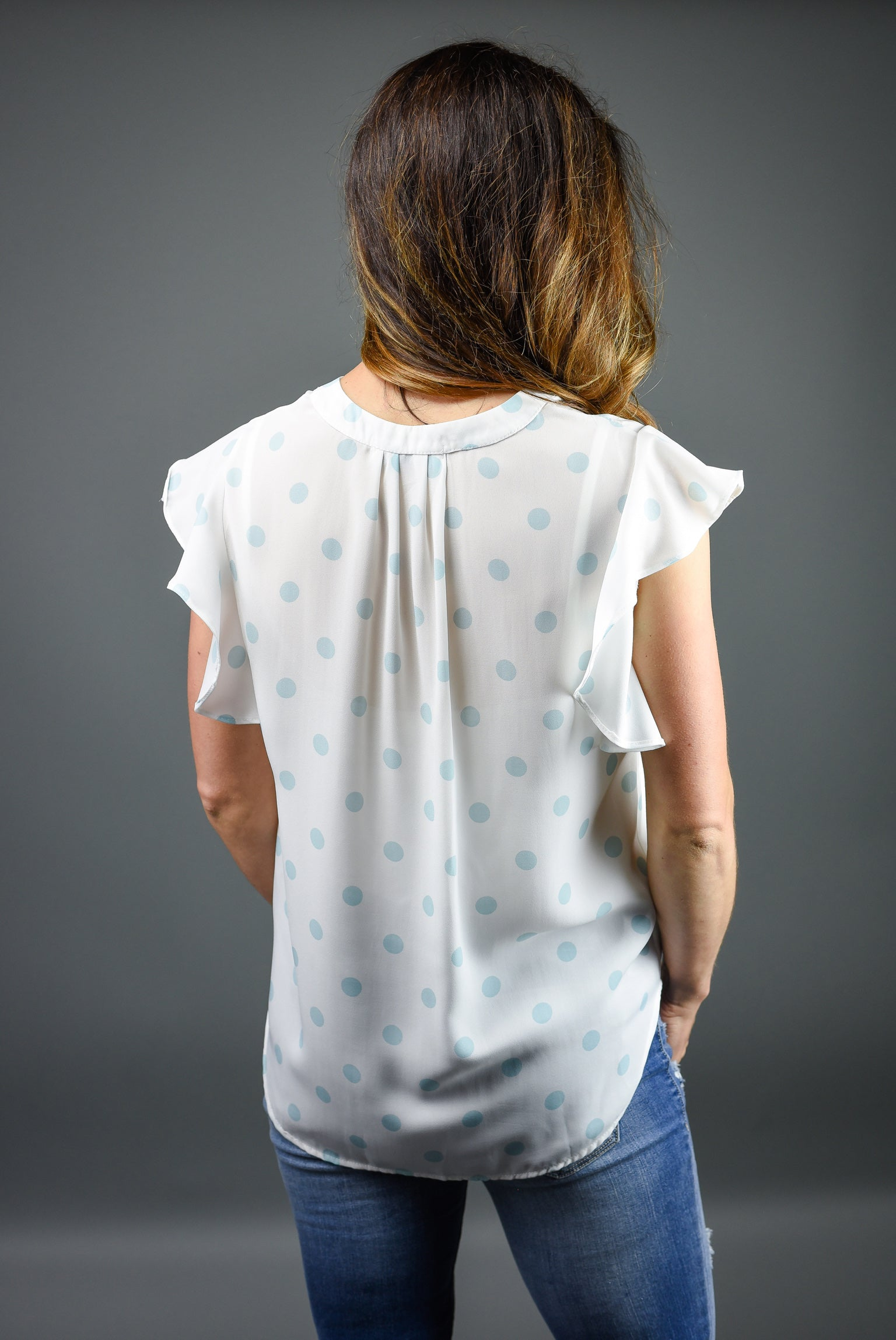Be The Queen Polka Dot Blouse- Light Blue
