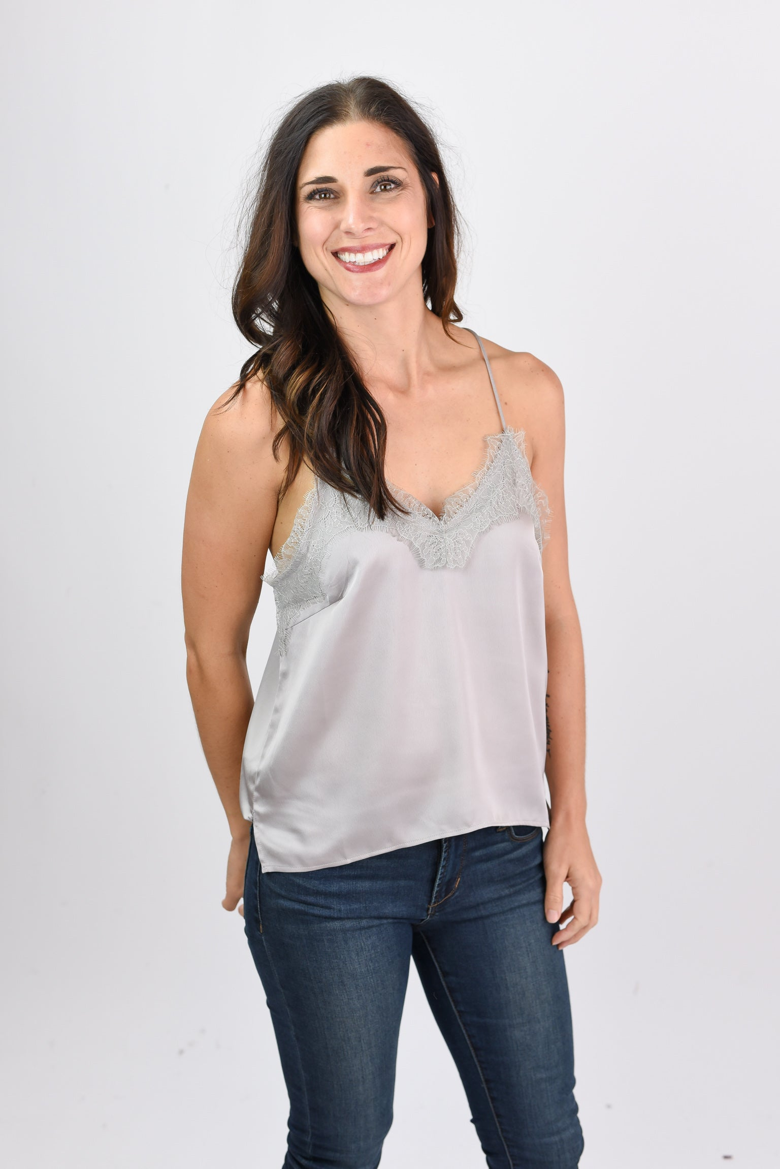 Better When I'm Dancing Grey Lace Tank