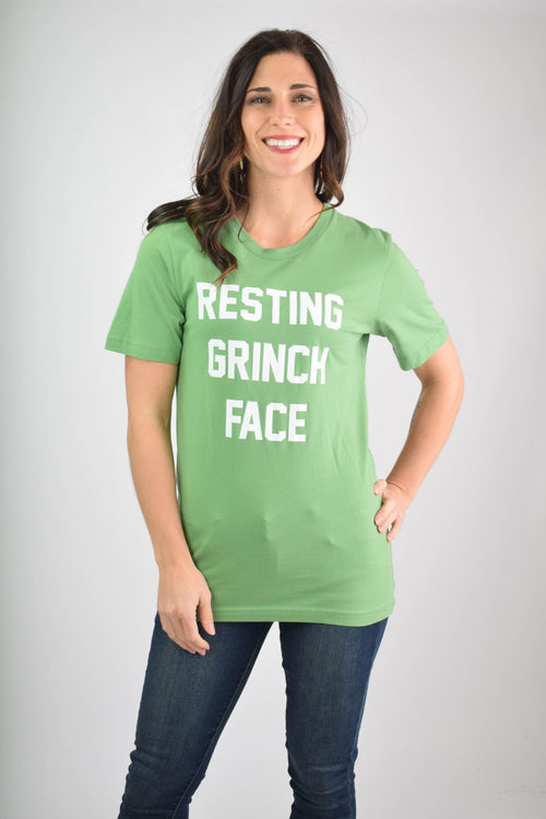 Resting Grinch Face Graphic Holiday Tee