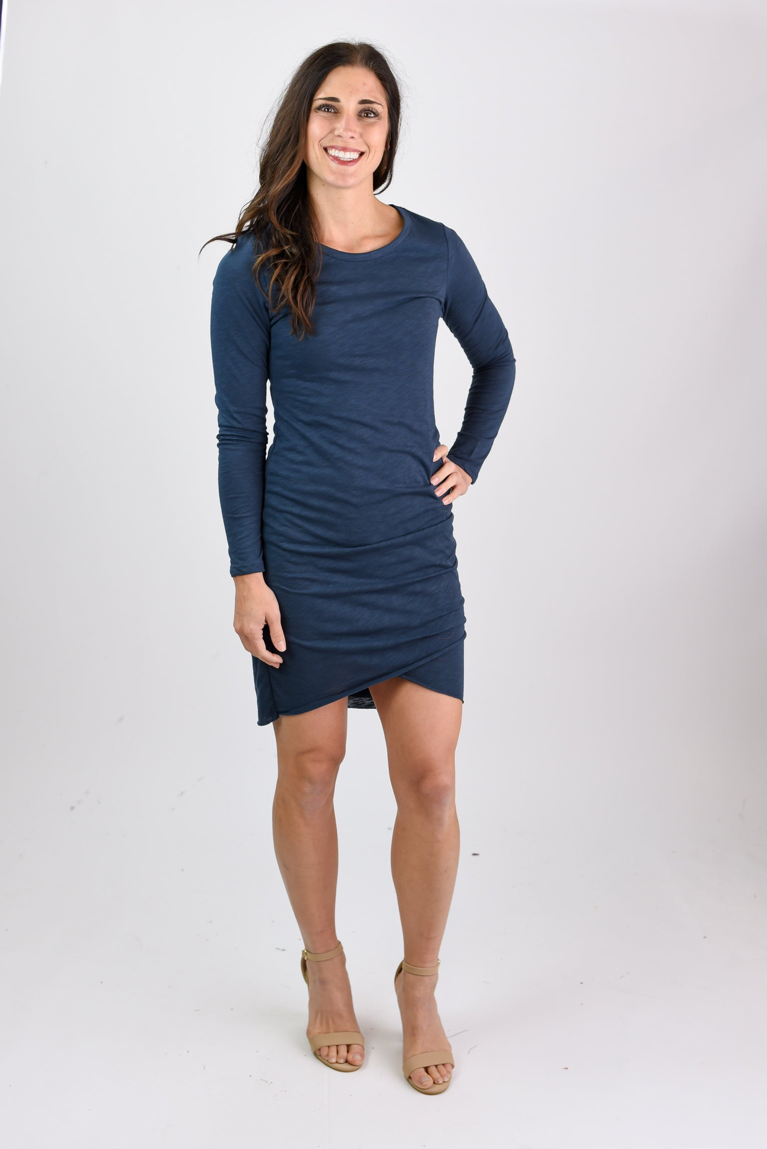 Got Your Attention Ruched Dress- Navy Long Sleeve