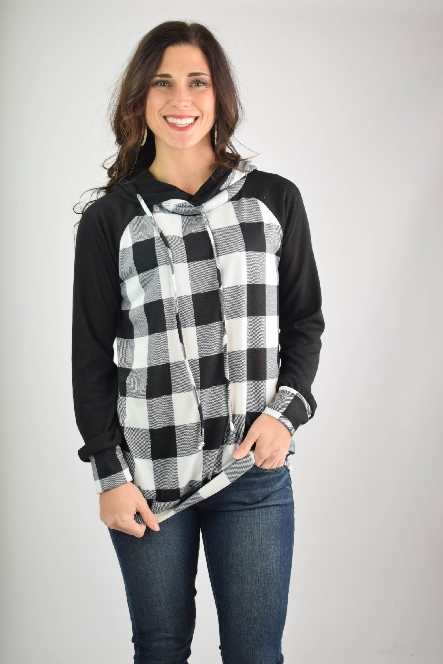 Next To You Buffalo Plaid Hoodie- Black & White