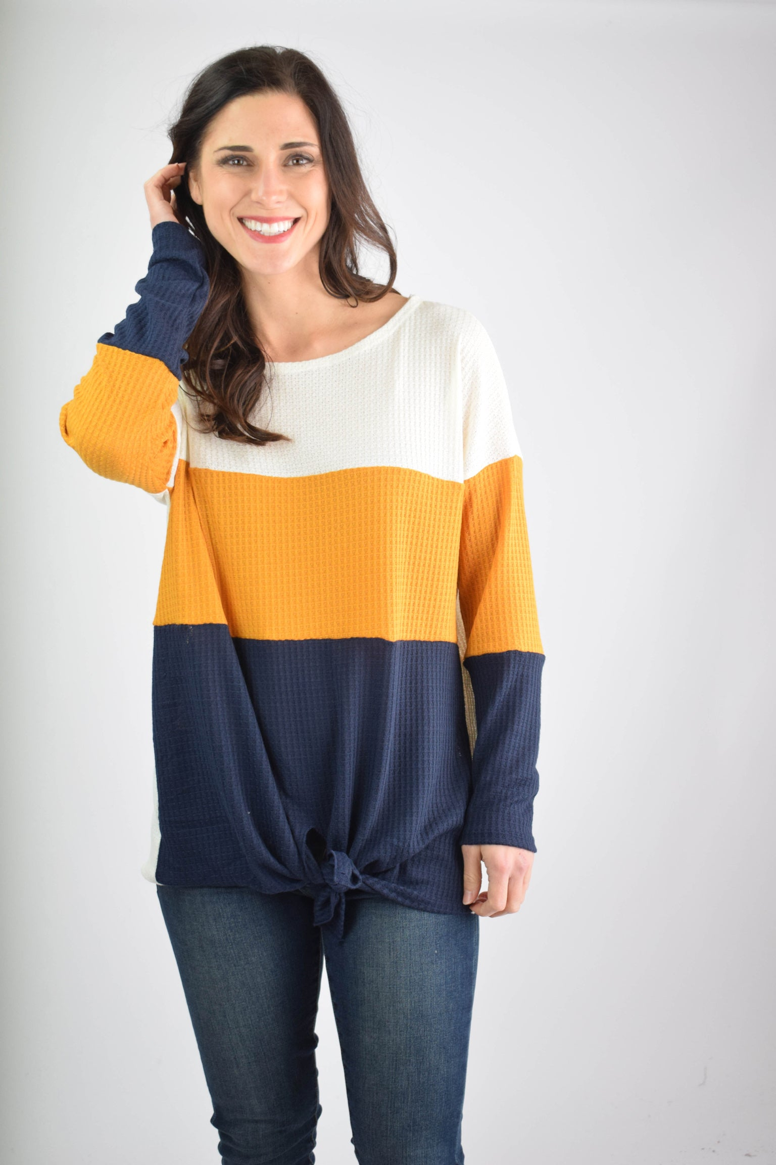 Put On Hold Color Block Waffle Front Tie Long Sleeve - Ivory, Mustard, Navy