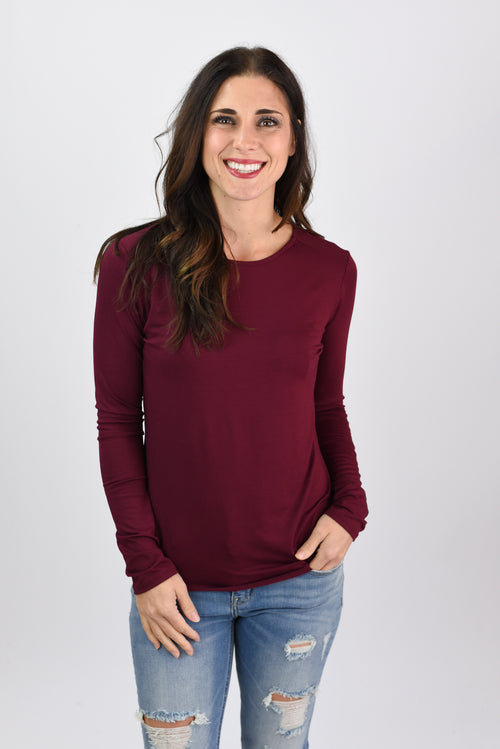 Be Enough Split Rounded Hem Long Sleeve - Wine