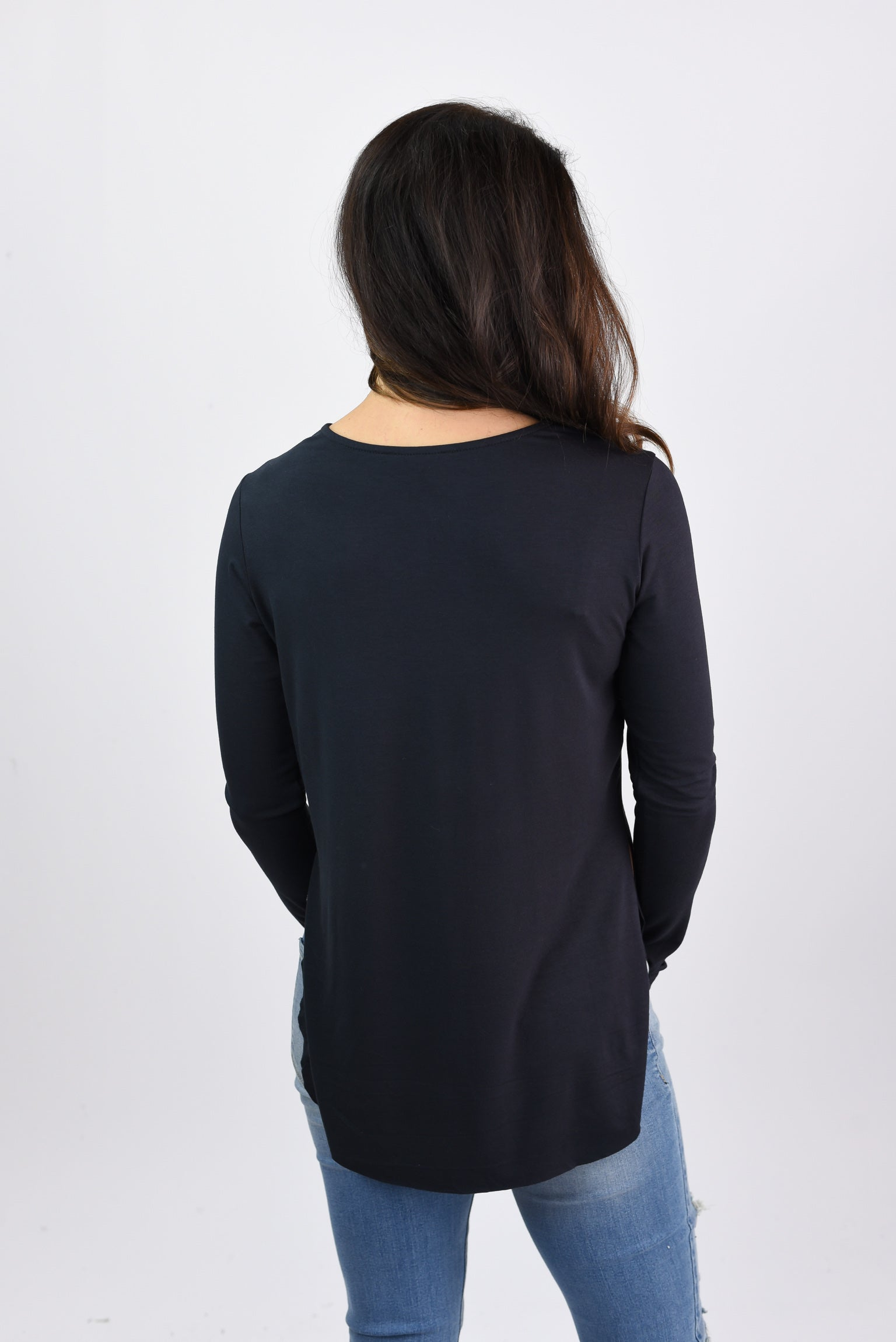 Be Enough Split Rounded Hem Long Sleeve - Black