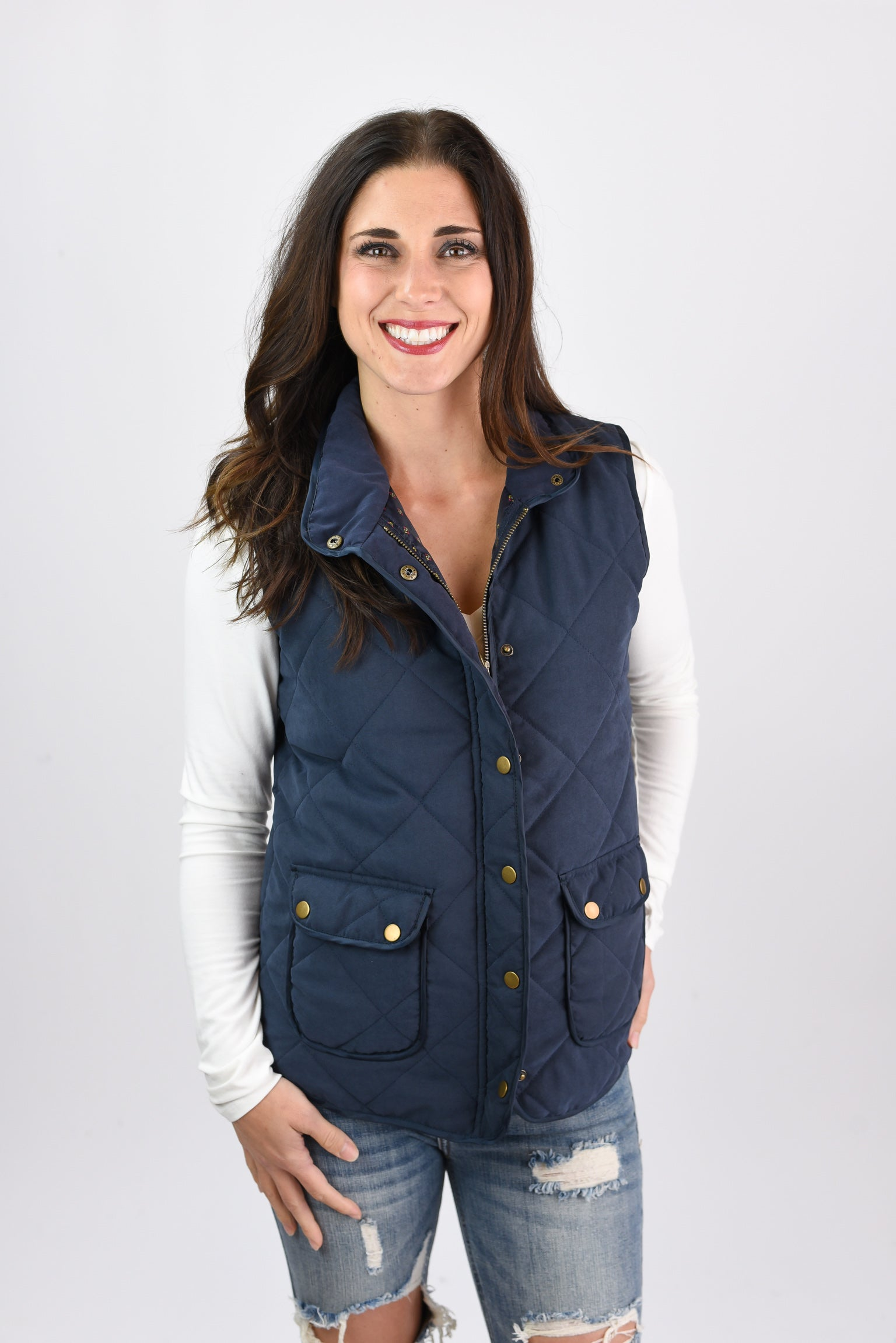 All In Good Fun Navy Quilted Vest