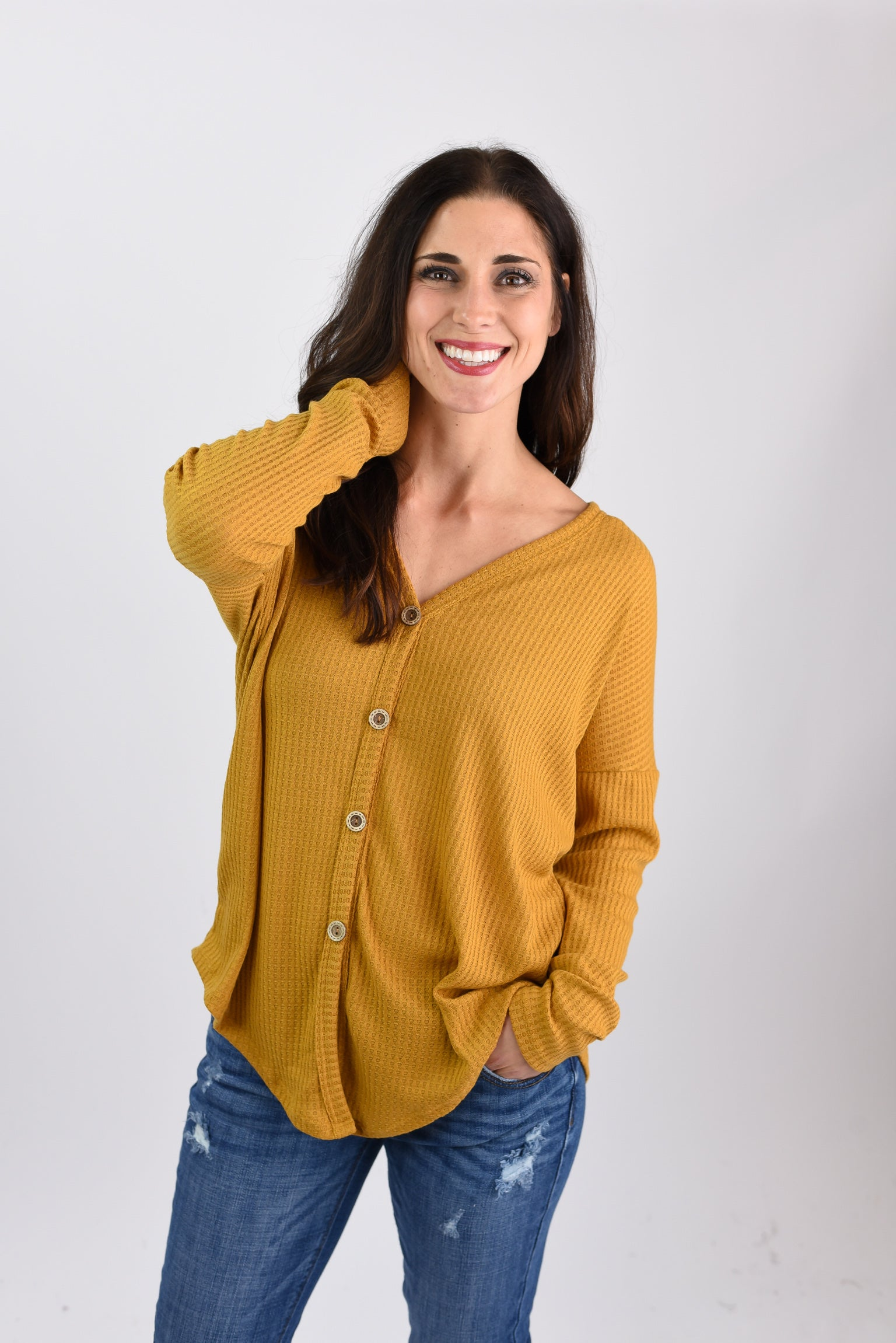 Bad Habit Mustard Button Up Waffle Long Sleeve