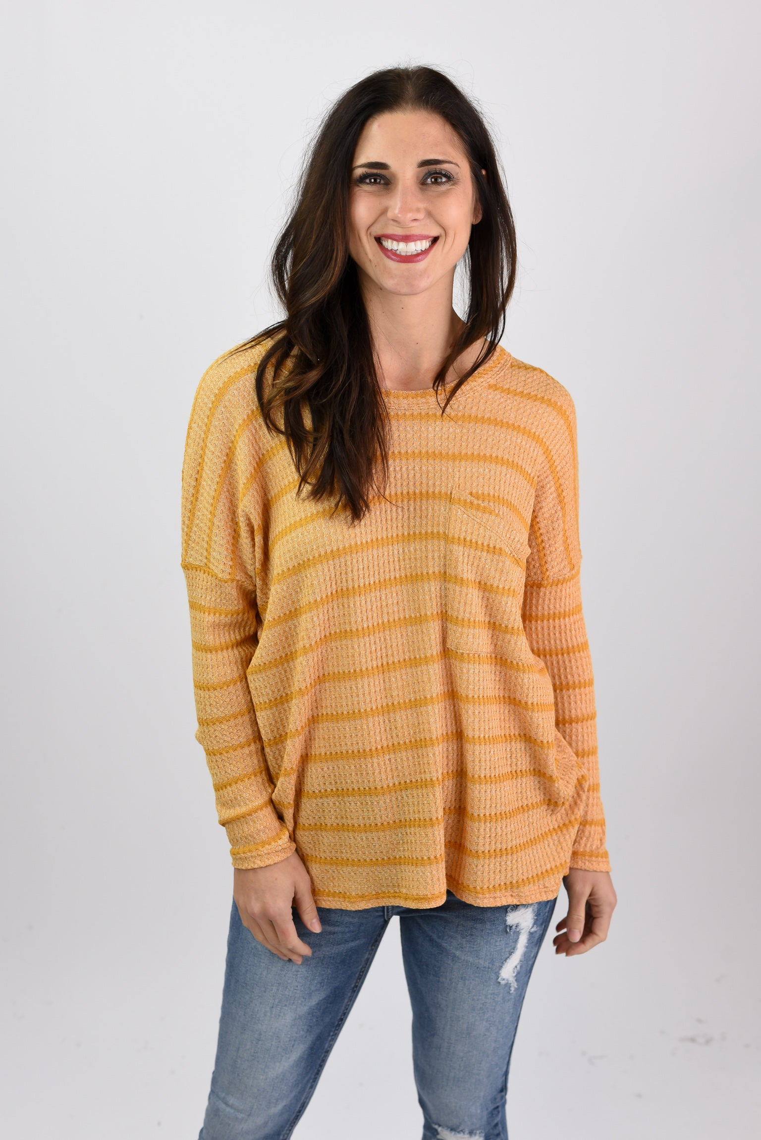 Searching For You Mustard Angled Pocket Long Sleeve Top