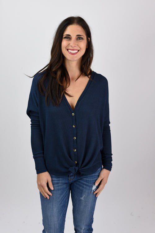 Where Are You Now Navy Button Down Waffle Long Sleeve Top