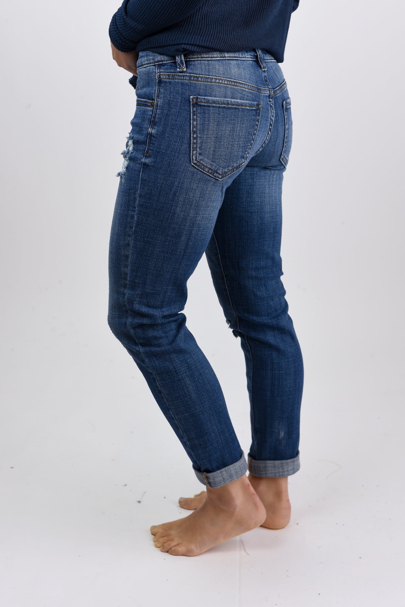 Beautiful Excuses Distressed Mid Rise Relaxed Skinny Jeans