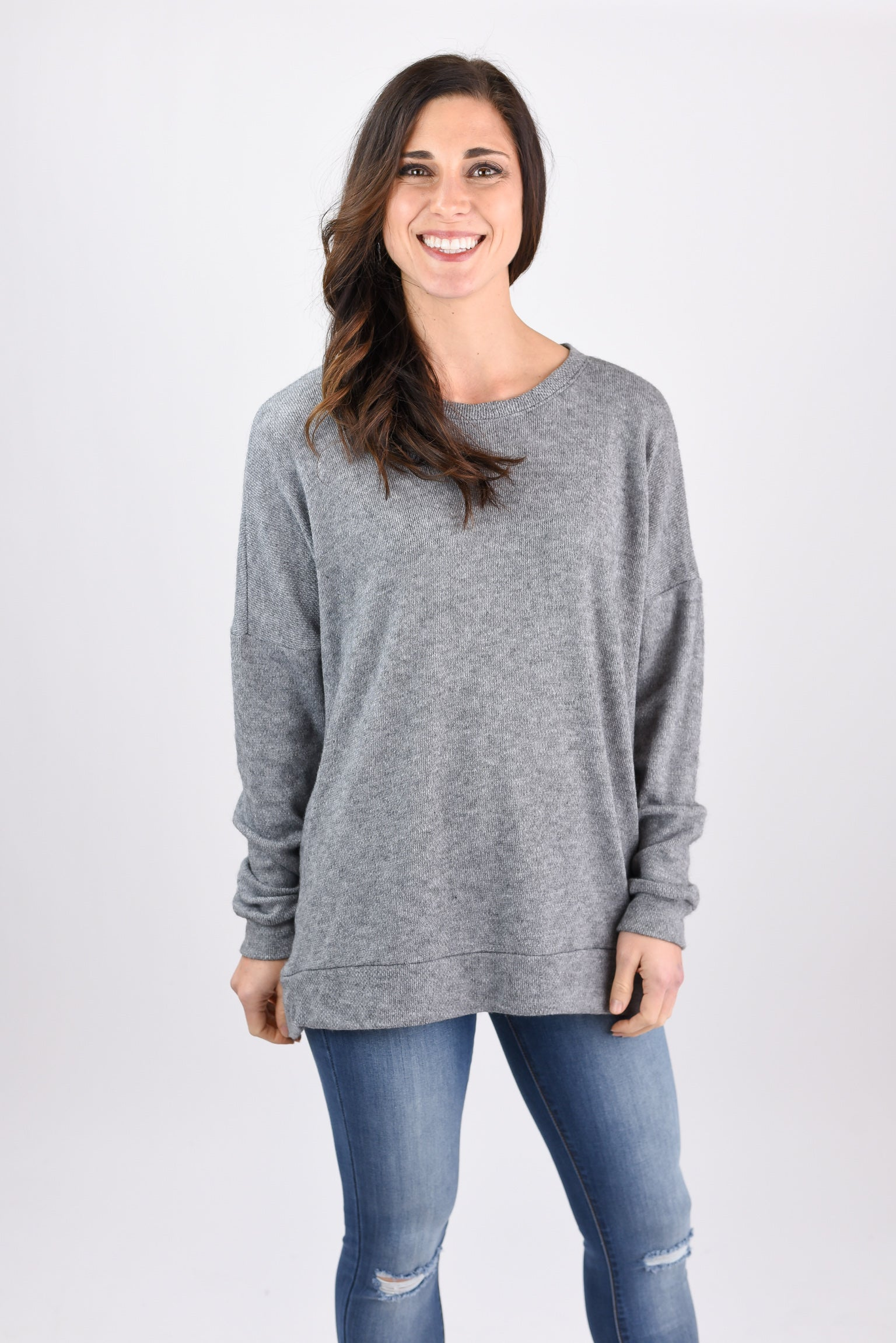 From The Start Lightweight Crew Neck Long Sleeve - Grey