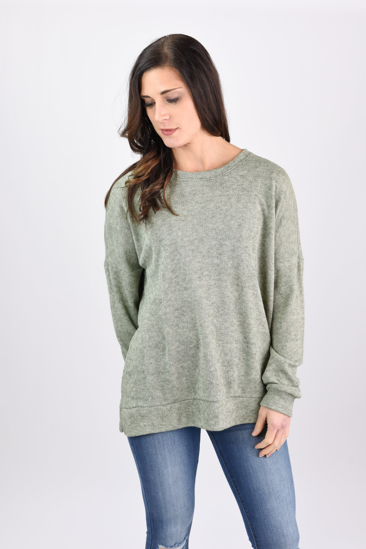 From The Start Lightweight Crew Neck Long Sleeve - Olive