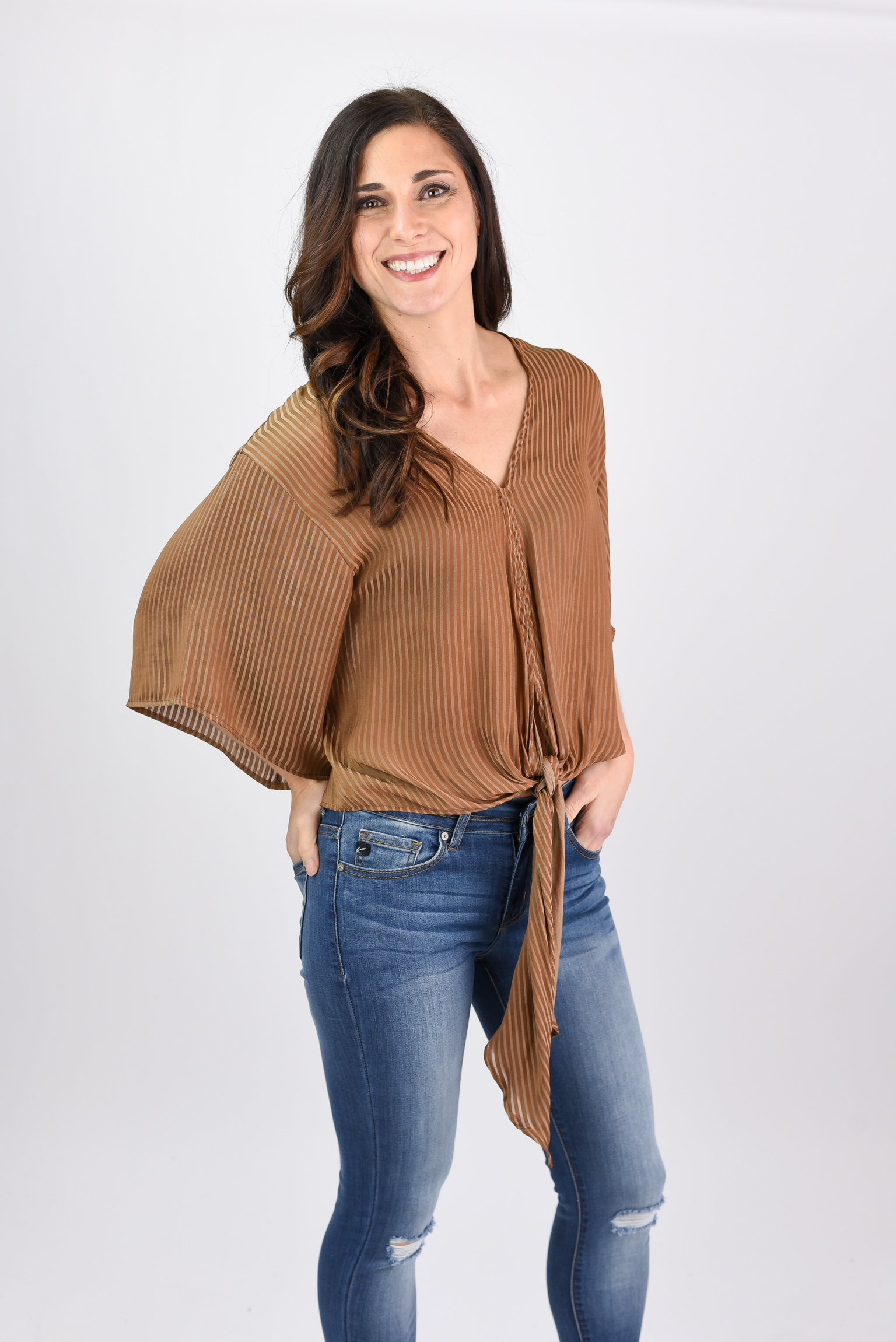 Thoughtful Moment Mocha Stripe Front Tie Blouse