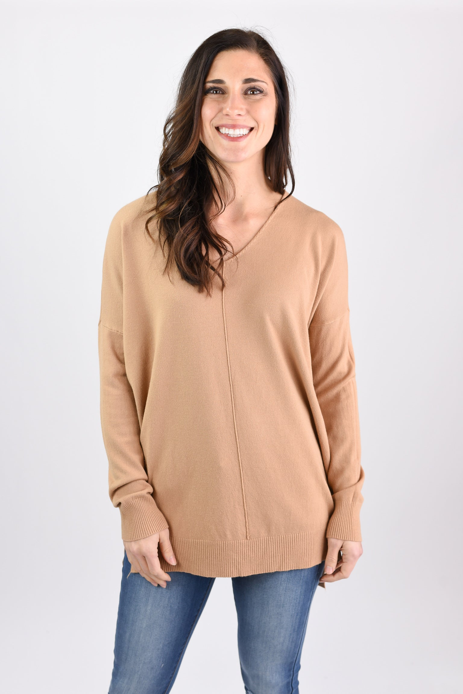 Try To Resist Exposed Seam Crew Sweater- Camel