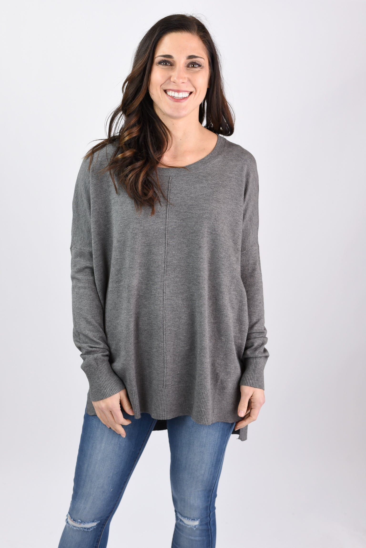 Unstoppable Exposed Seam Crew Sweater- Charcoal