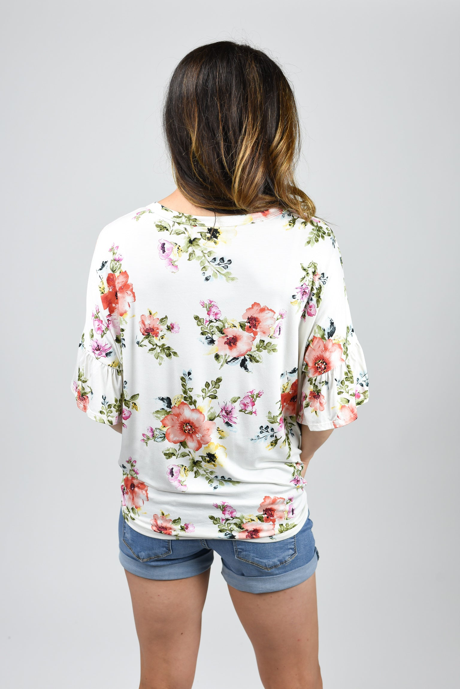 Woodstock Wild Flowers Ivory Front Knot Tee