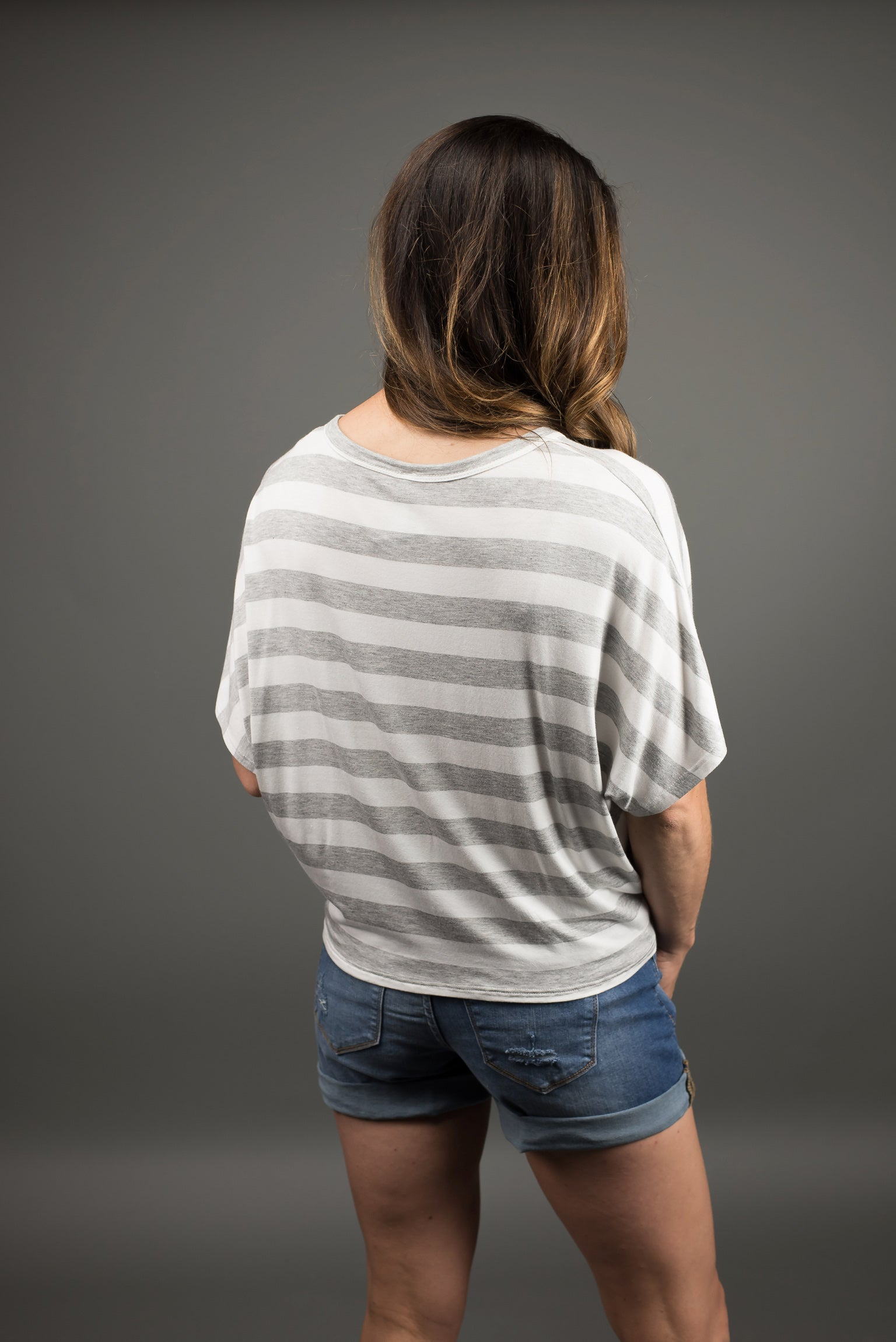 Summer Drinks Striped Button Down Tee- Grey and White