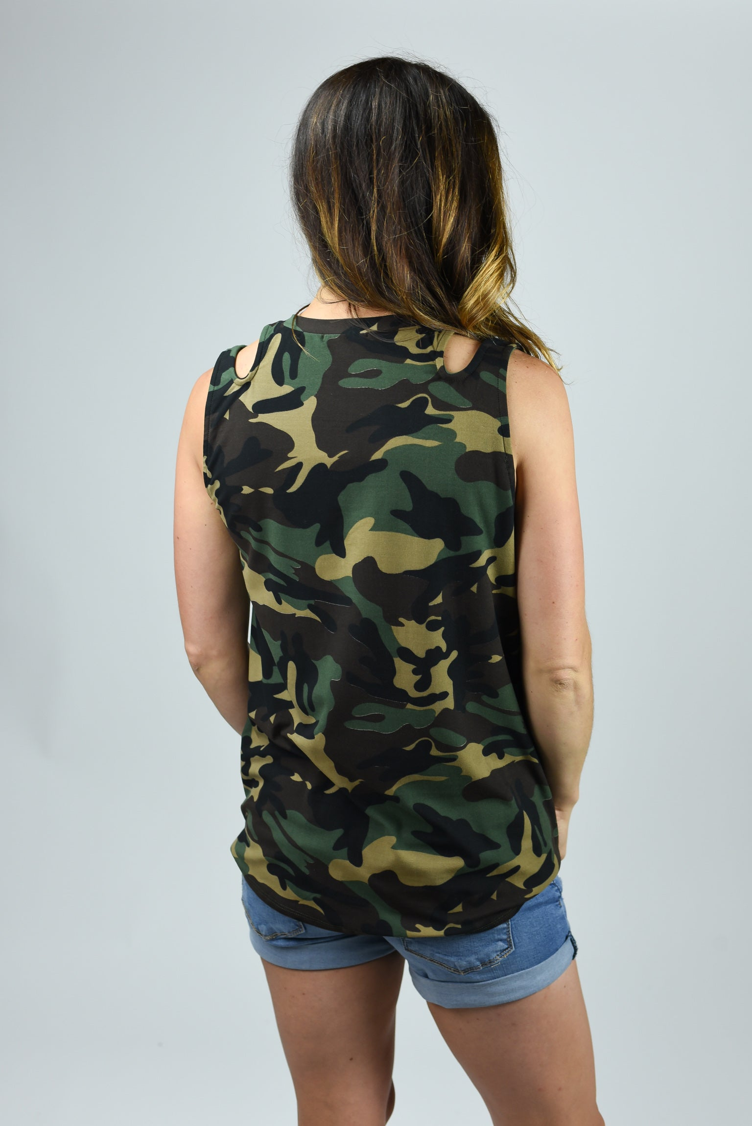 Join The Ranks Dark Camo Cutout Tie Tank