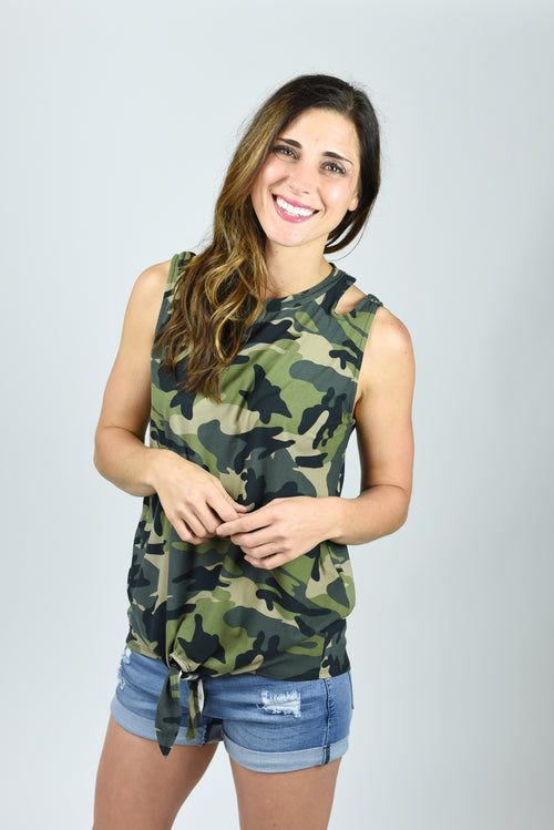 Join The Ranks Light Camo Cutout Tie Tank