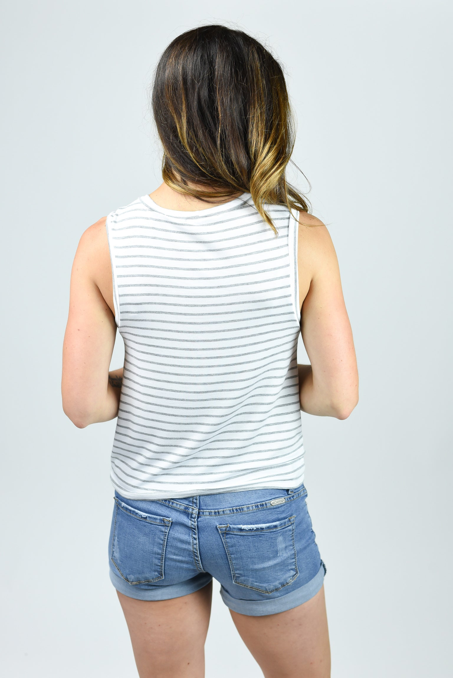 Summer Playlist White and Grey Front Knot Tank