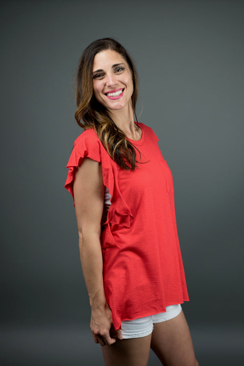 Key To My Heart Side Ruffle Red Tank
