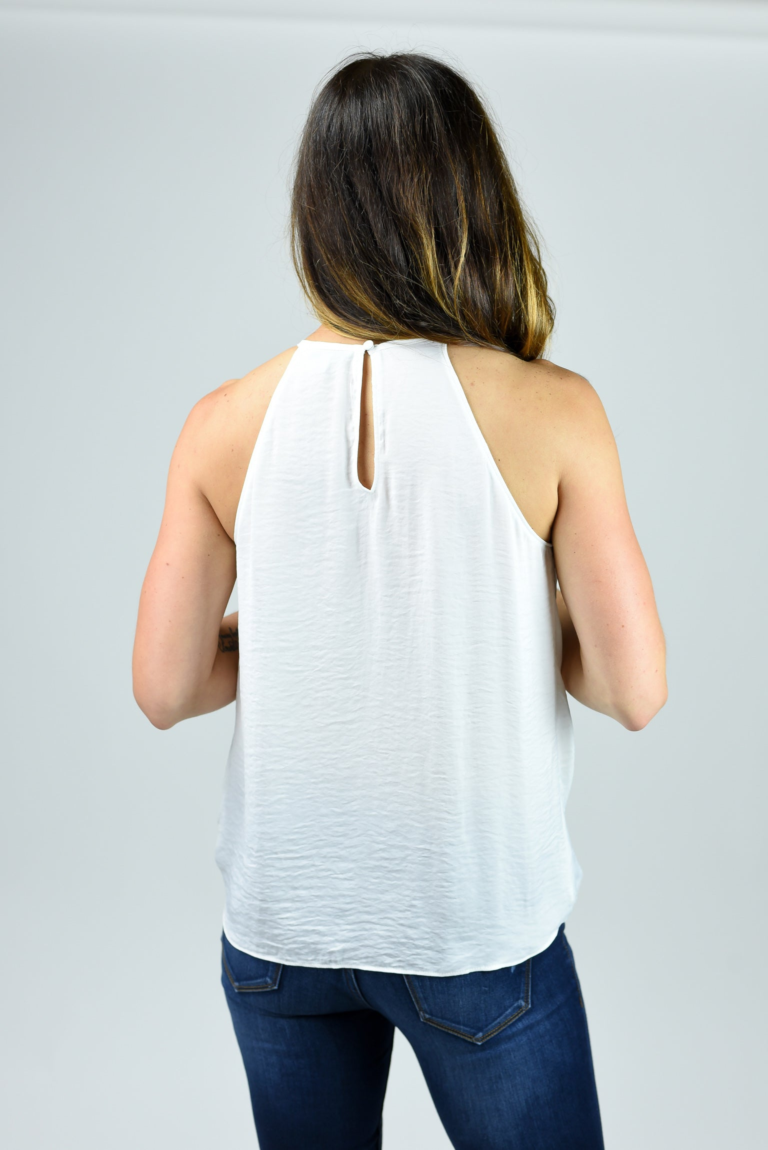 At Long Last Halter Tank - White