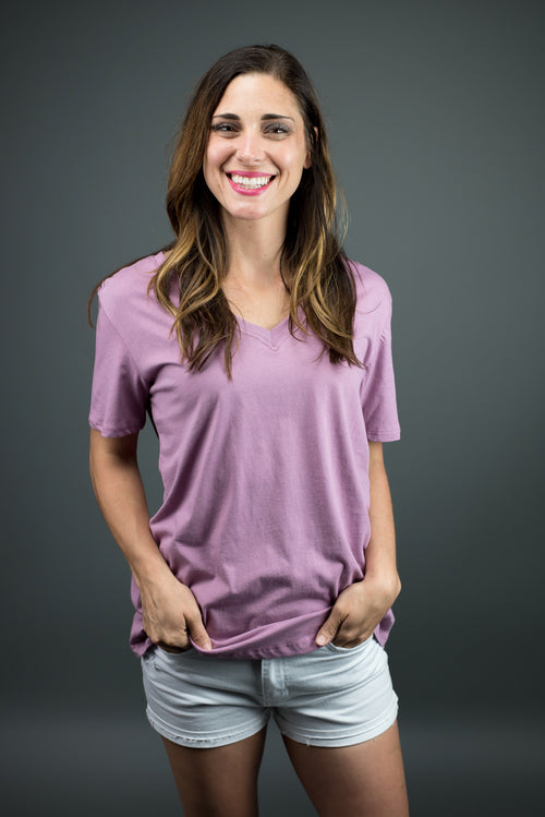 Great View Mauve Basic Vneck Tee