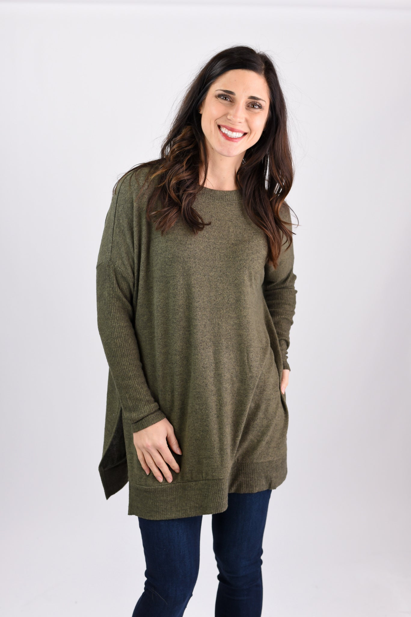 Comfy and Chic Brushed Olive Fleece Long Sleeve Tunic
