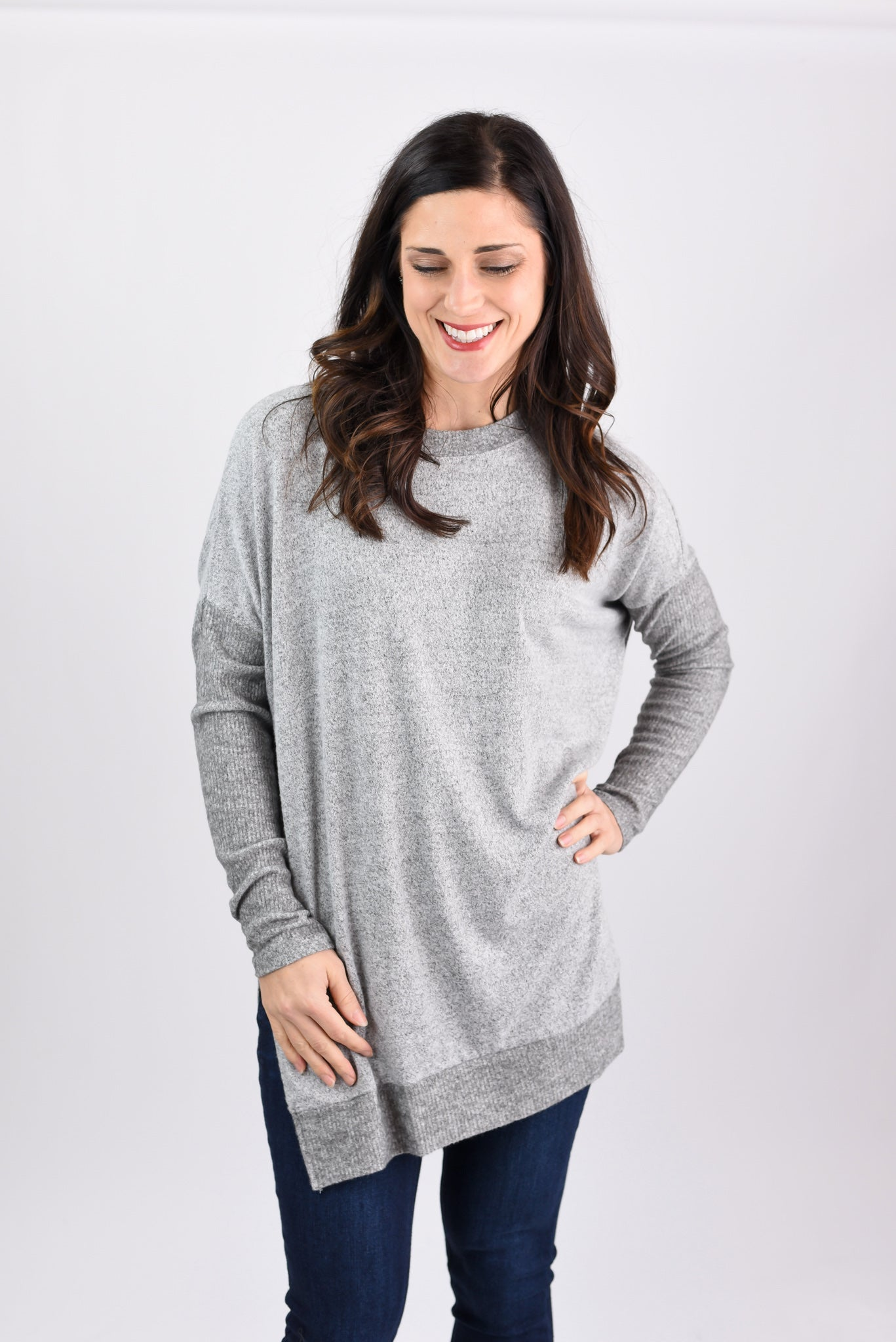 Comfy and Chic Brushed Grey Fleece Long Sleeve Tunic