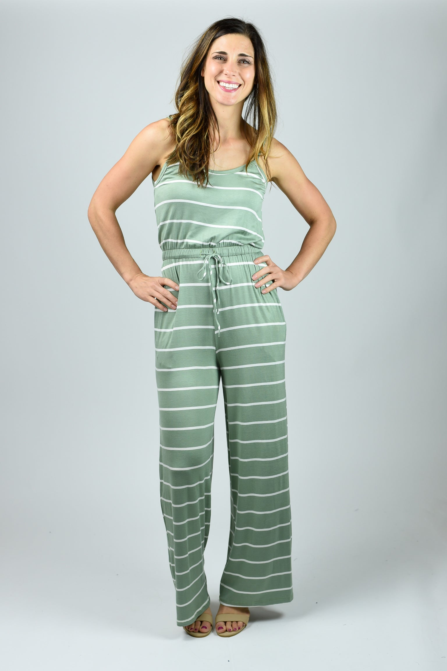 Exploring My Options Stripe Sage Jumpsuit