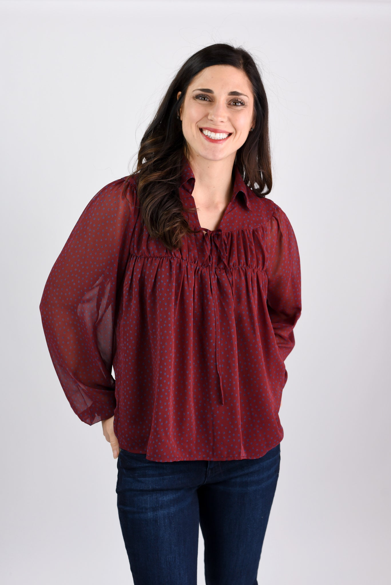 Adoring Fans Burgundy Sheer Sleeve Blouse