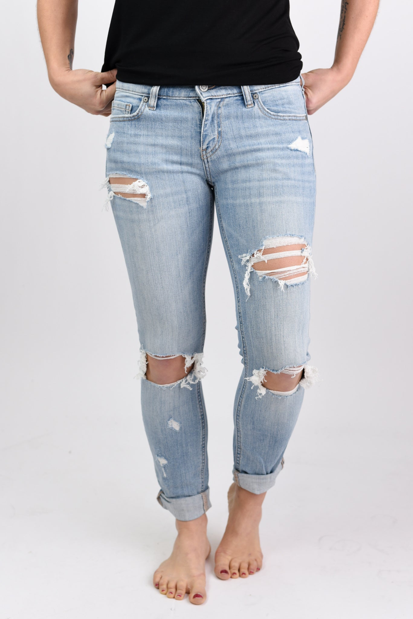 Addicted To Your Love Distressed Low Rise Straight Leg Denim