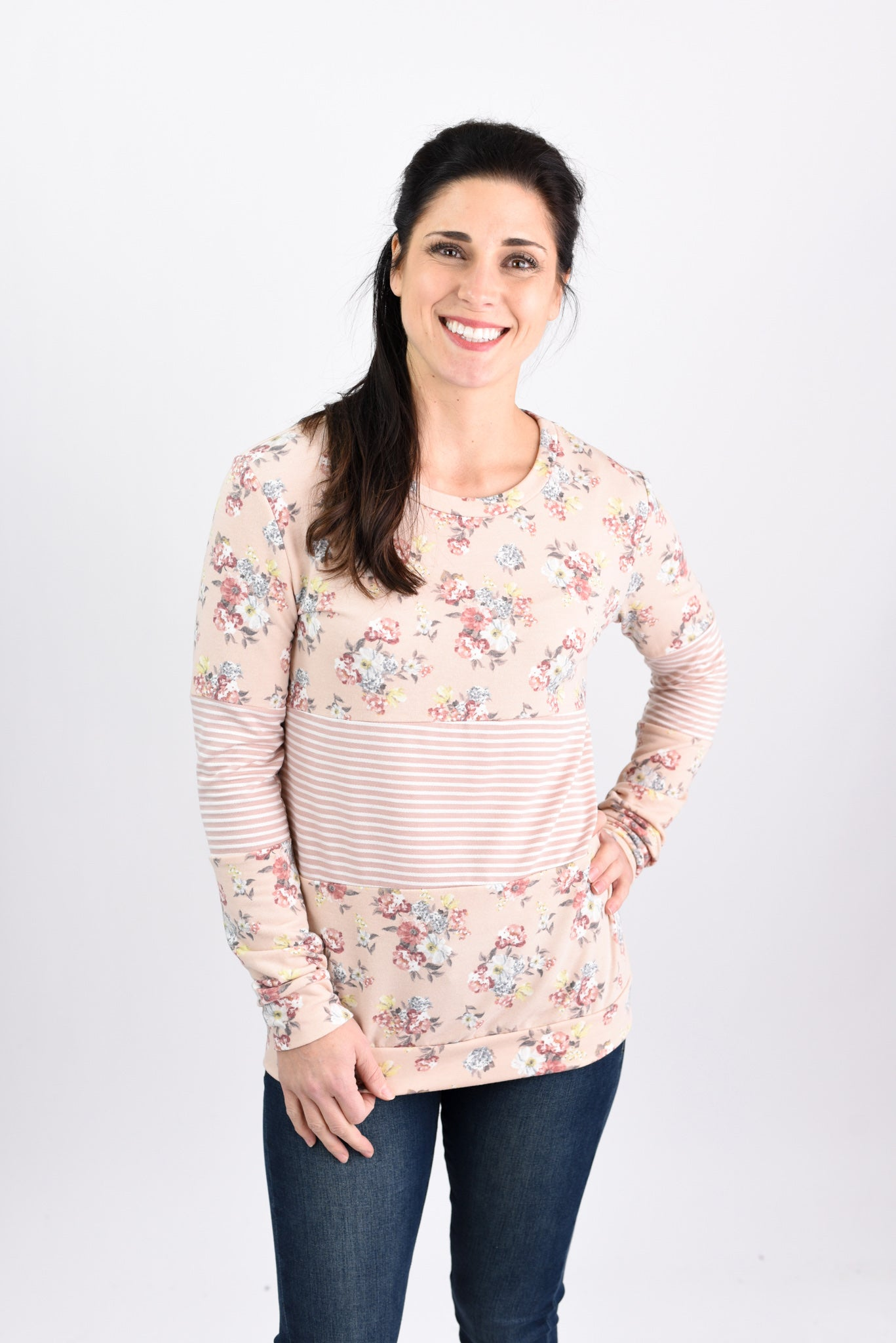 Freshly Picked Light Peach Floral Long Sleeve