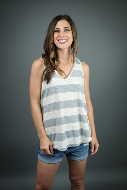 A Slow Cruise Stripe Tank - Grey and Ivory
