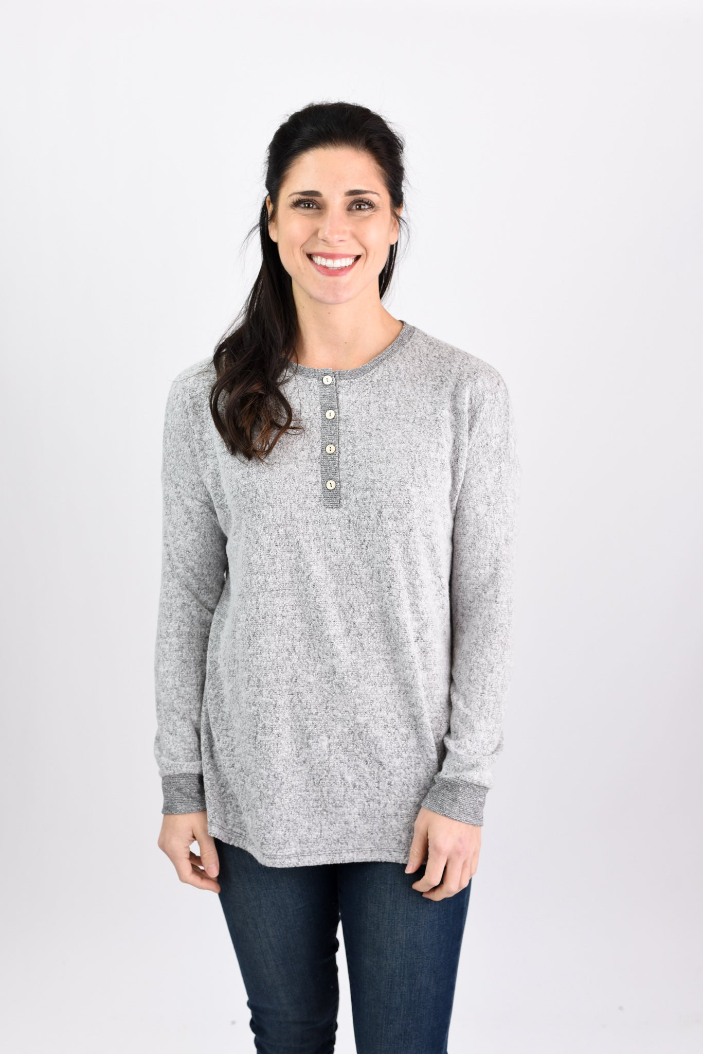 Holiday Traditions Brushed Fleece Henley Long Sleeve Top - Grey