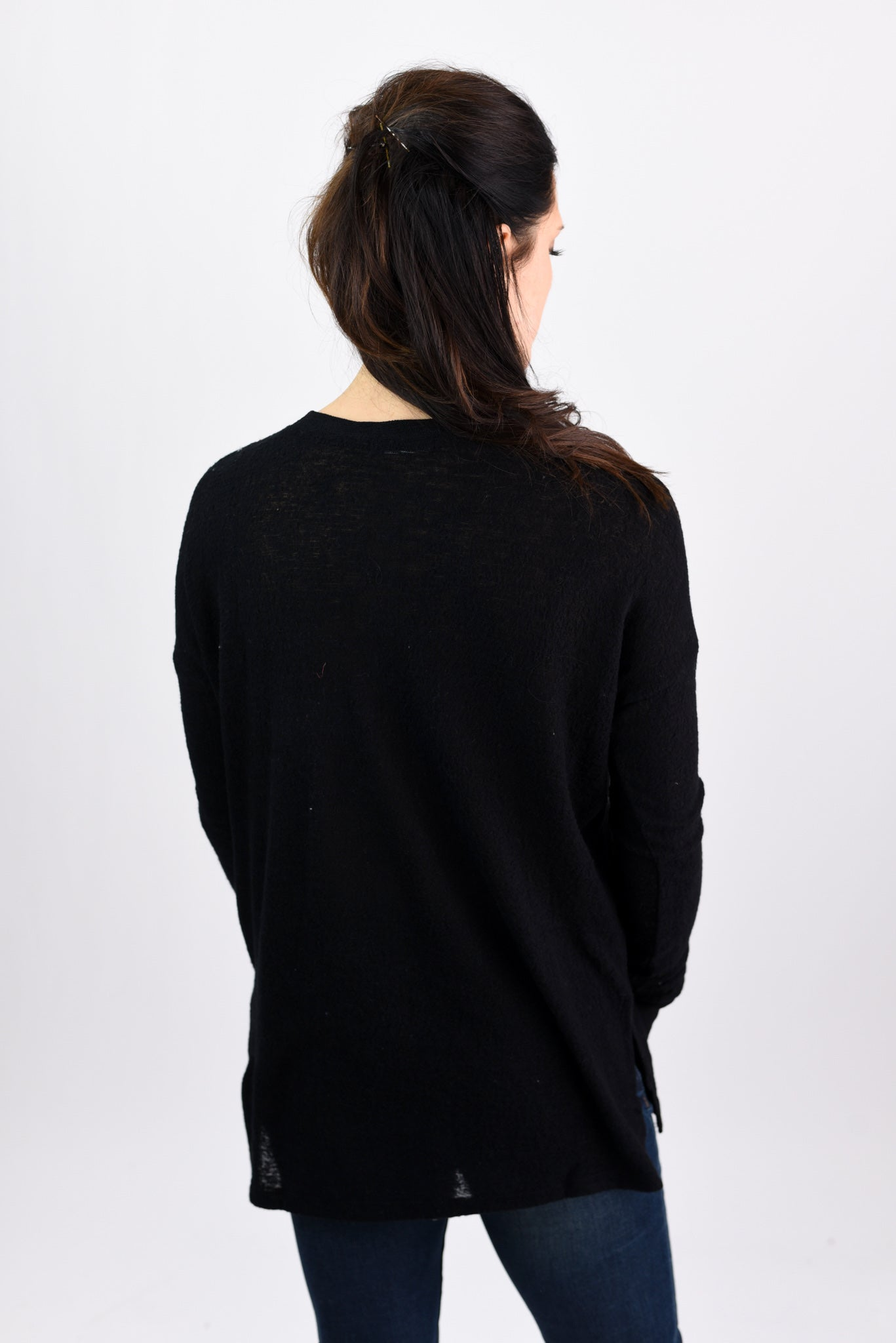 It Was Meant To Be Black Burnout Henley Long Sleeve