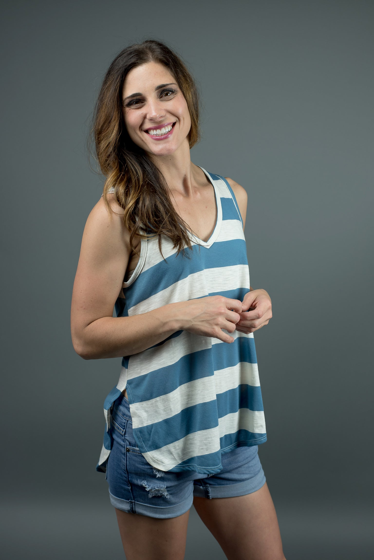 A Slow Cruise Stripe Tank - Blue and Ivory