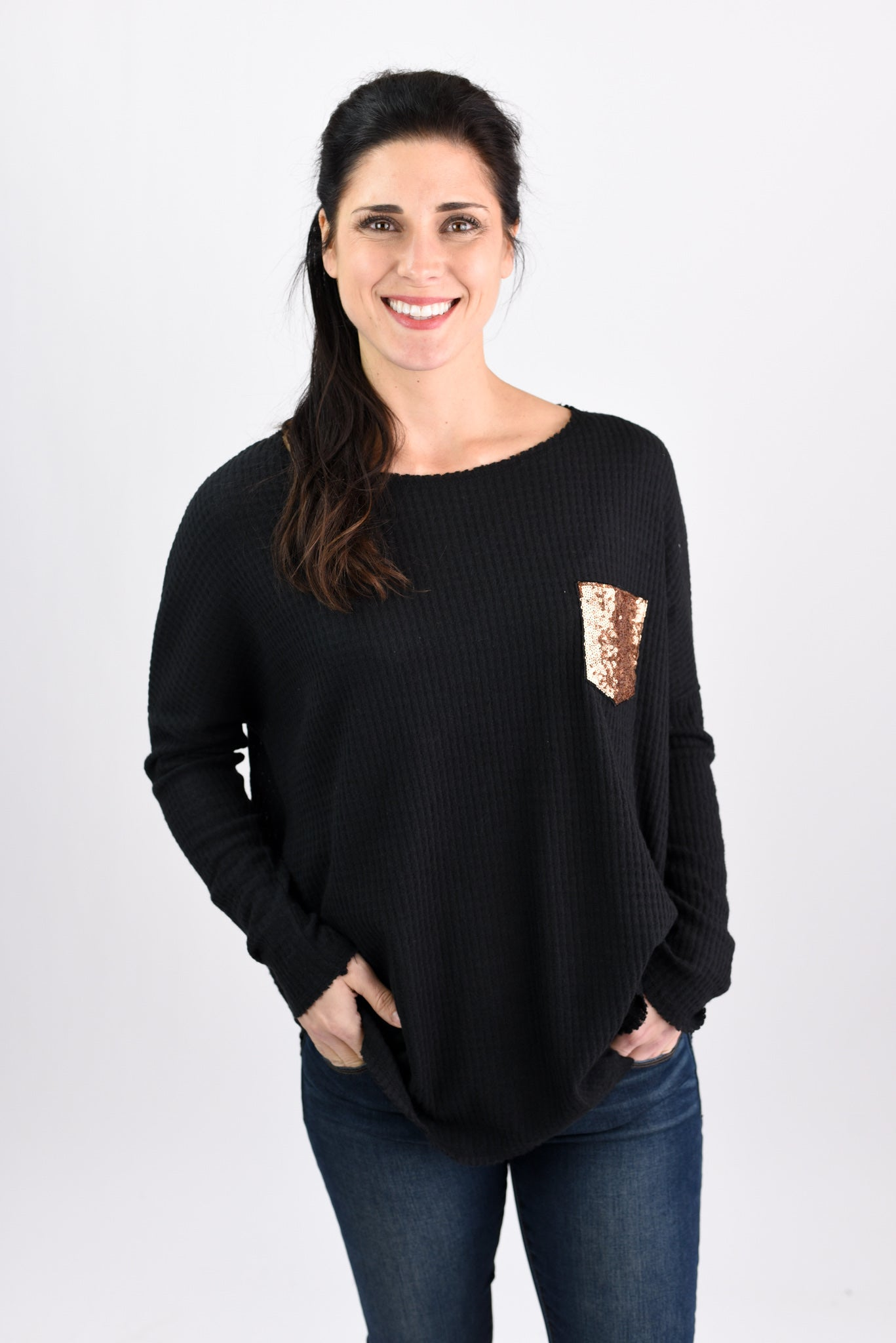 Made To Shine Sequin Pocket Waffle Long Sleeve - Black