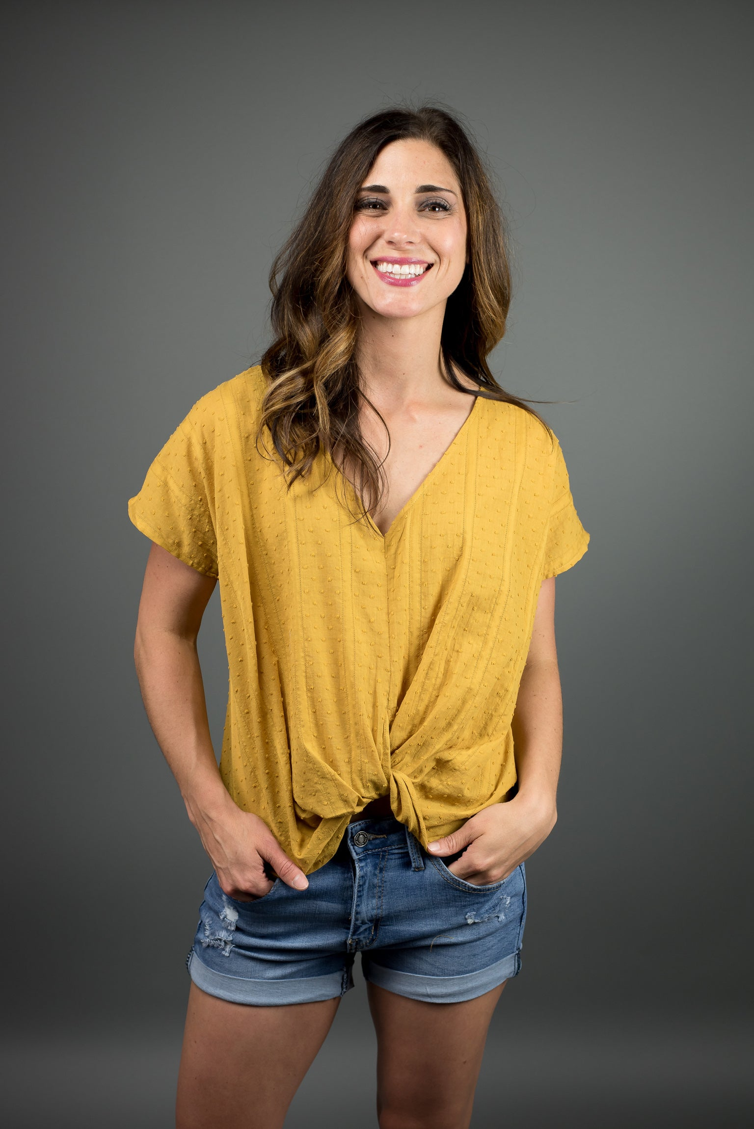 High In The Sky Mustard Twist Front Tee
