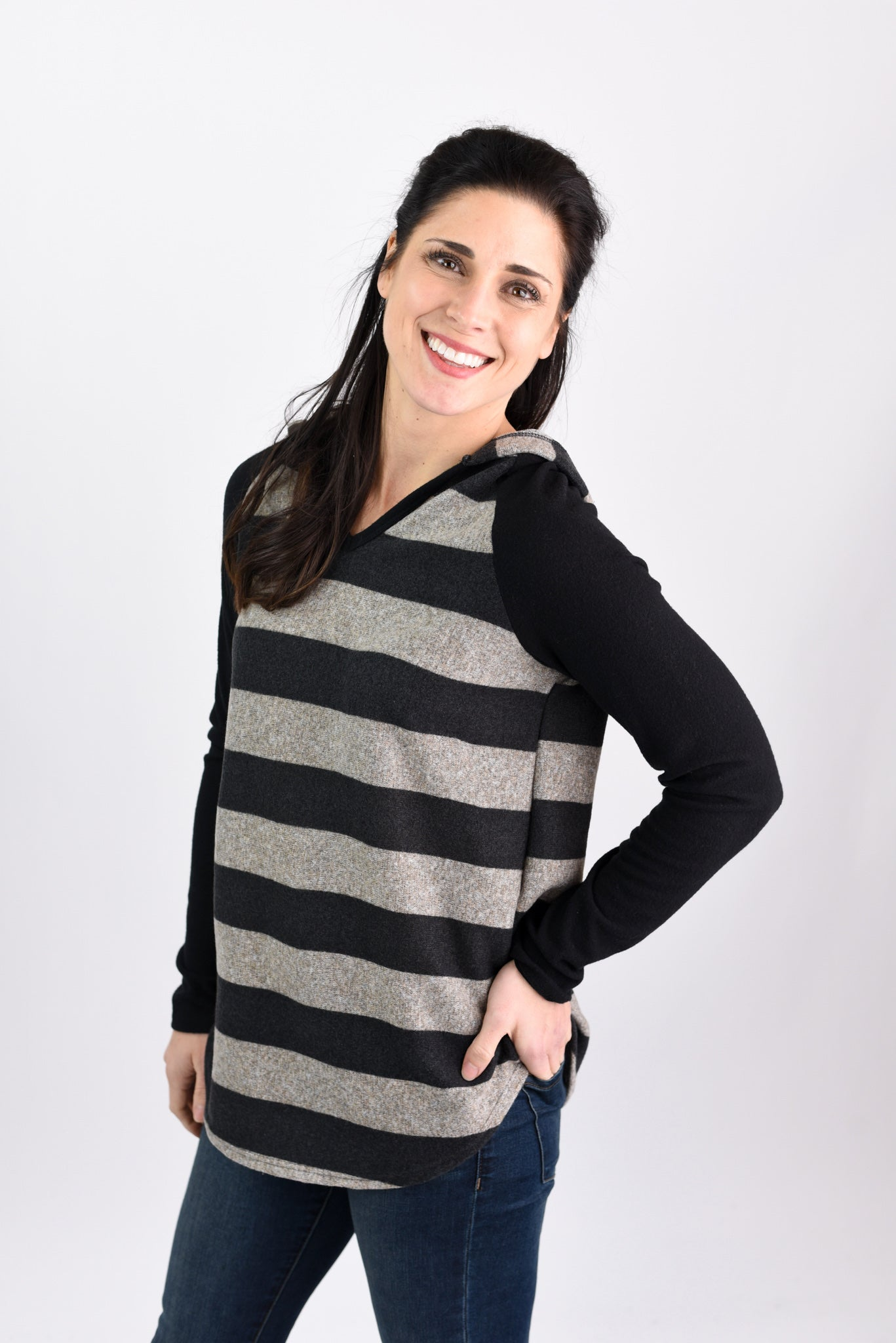 Joy Ride Striped Lightweight Hooded Sweatshirt- Taupe and Black