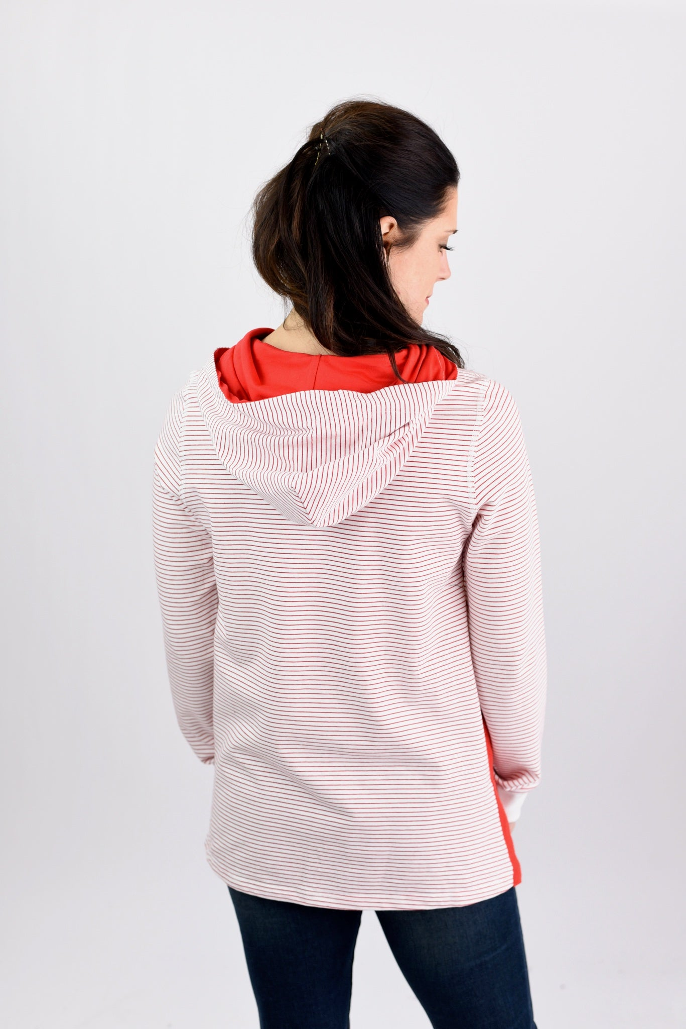 Cheer For All To Hear Red and Ivory Stripe Hoodie
