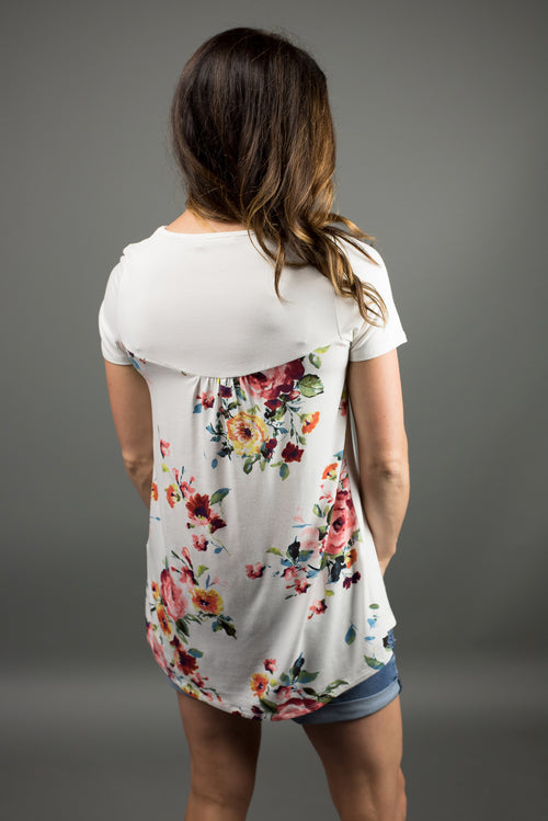 Reach The Top Floral Detail Tee- Ivory