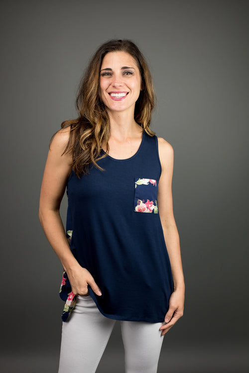 Simple Summer Floral Tank - Navy