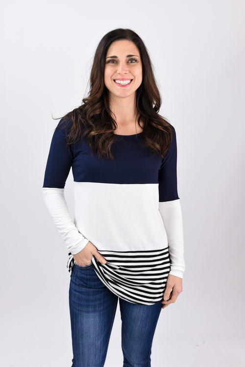 Too Far Away Navy and White Color Block Long Sleeve
