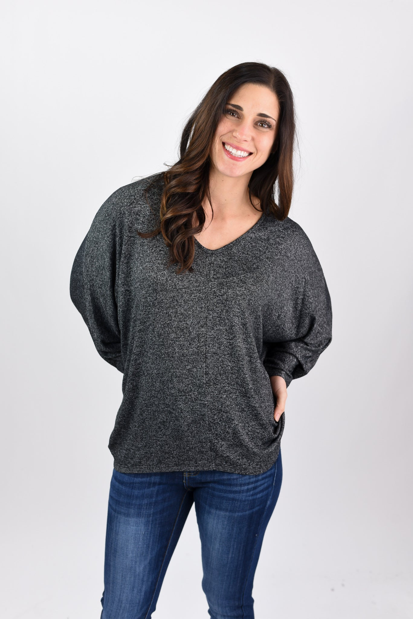 All Apart Of Me Dolman Long Sleeve Pullover - Charcoal