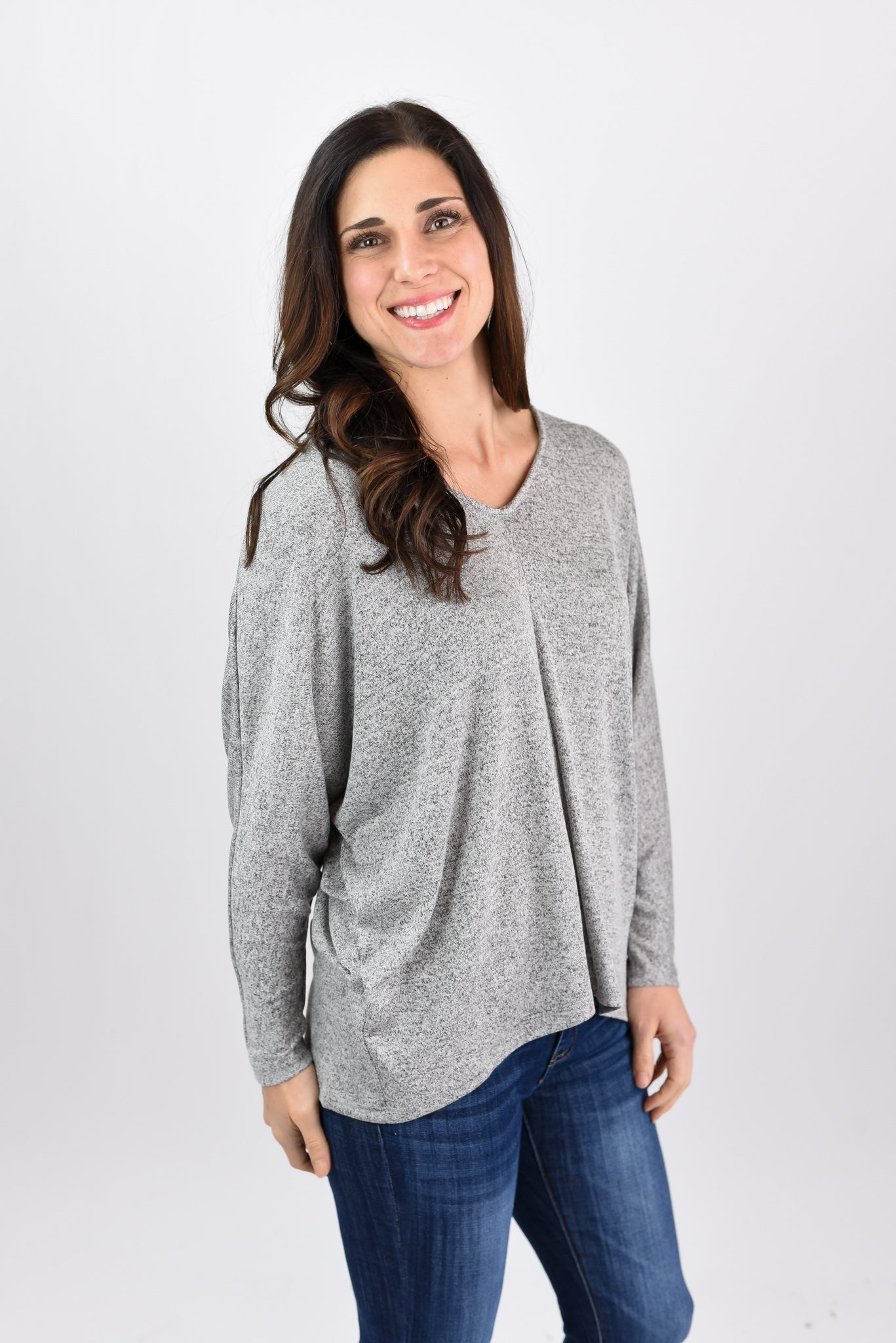All Apart Of Me Dolman Long Sleeve Pullover - Heather Grey