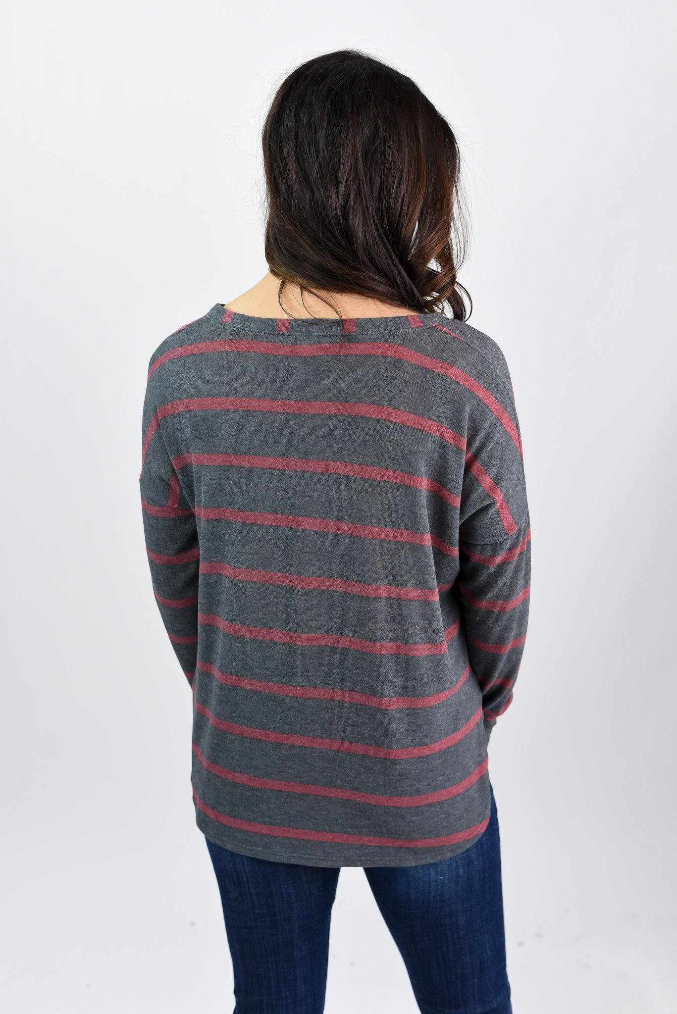 Mountain Air Charcoal with Red Stripe Long Sleeve