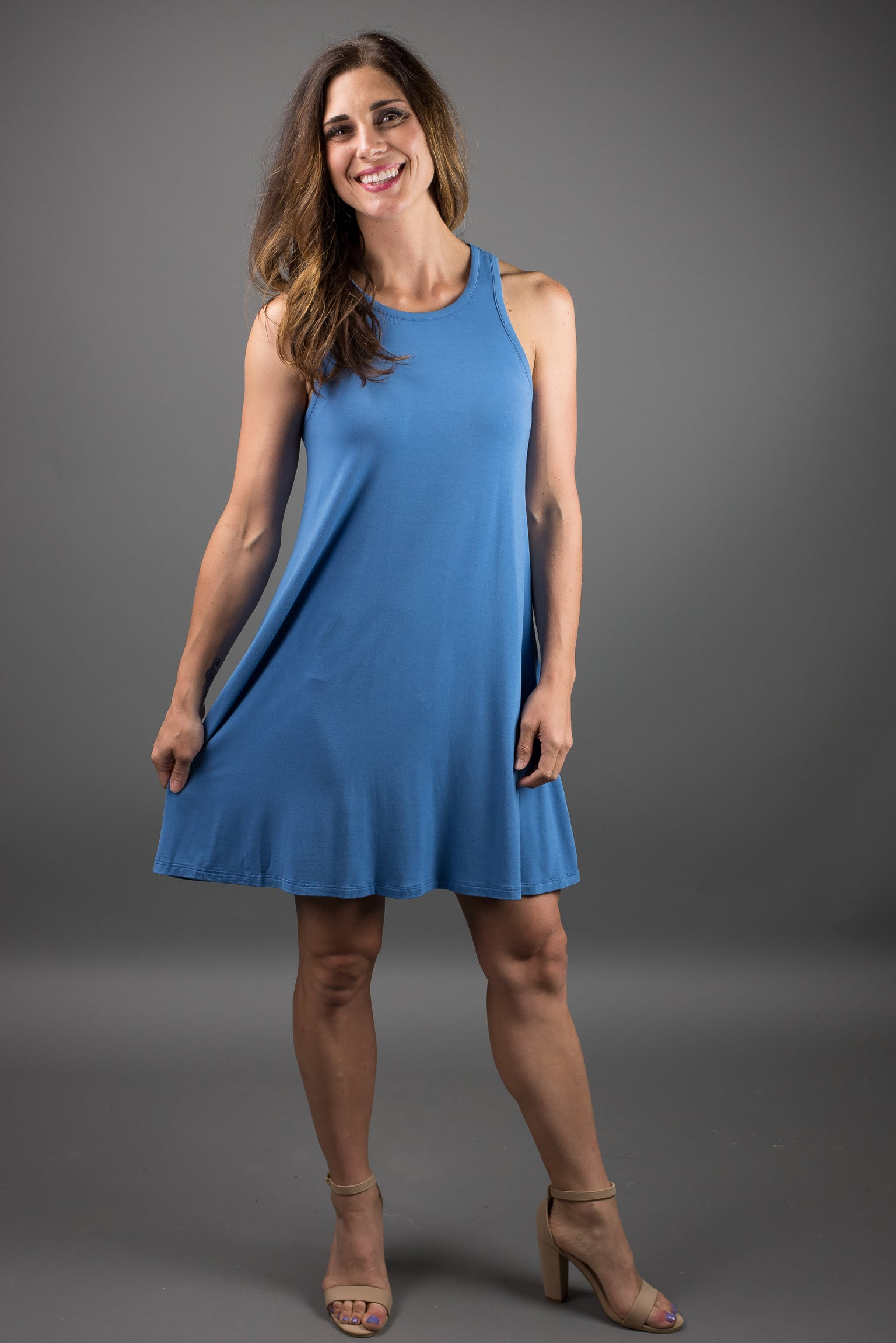 Miles From Nowhere Tank Dress- Blue