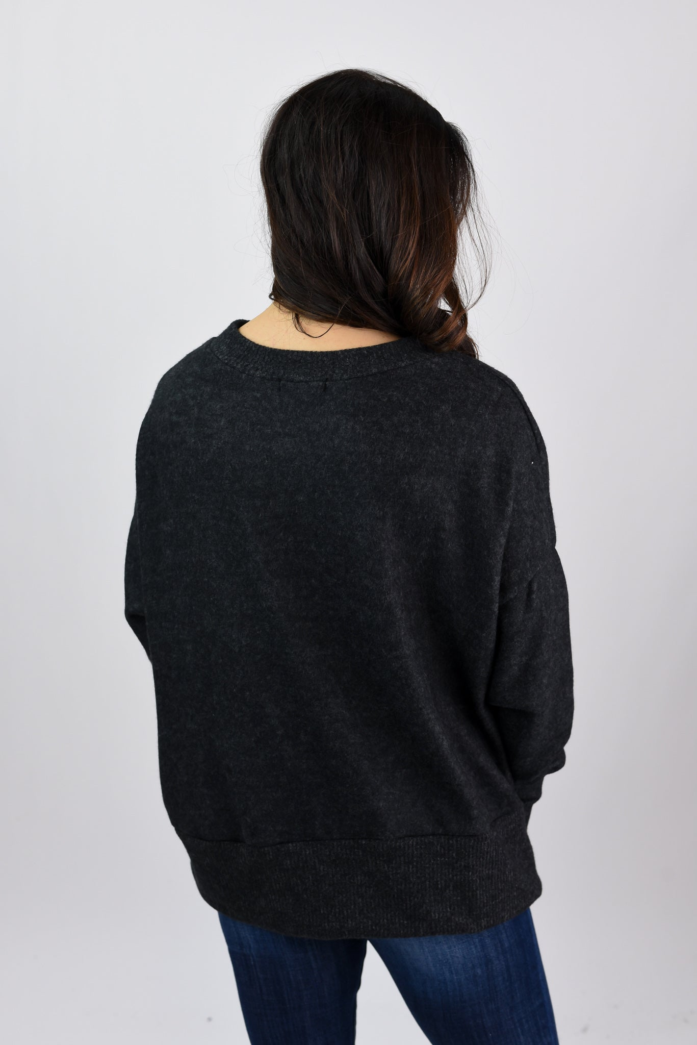 Nightfall Skies Brushed Fleece Oversized Top- Charcoal