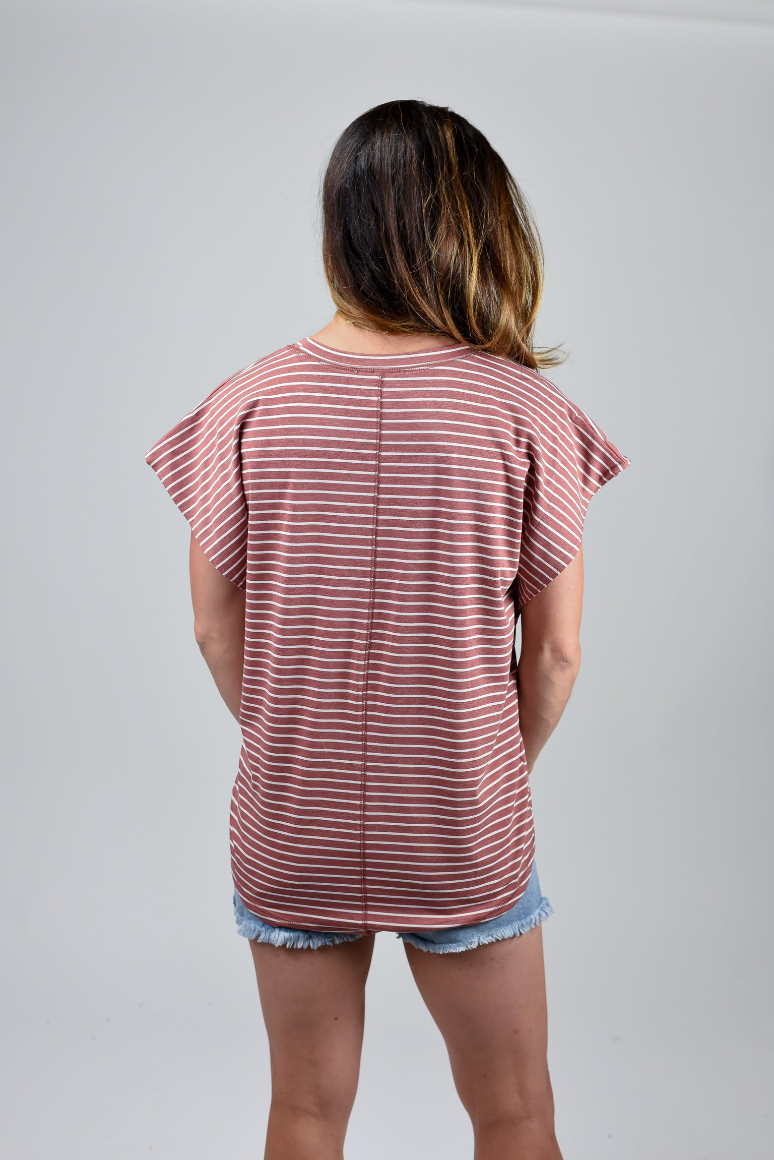State Of Mind Rust Stripe Pocket Tee